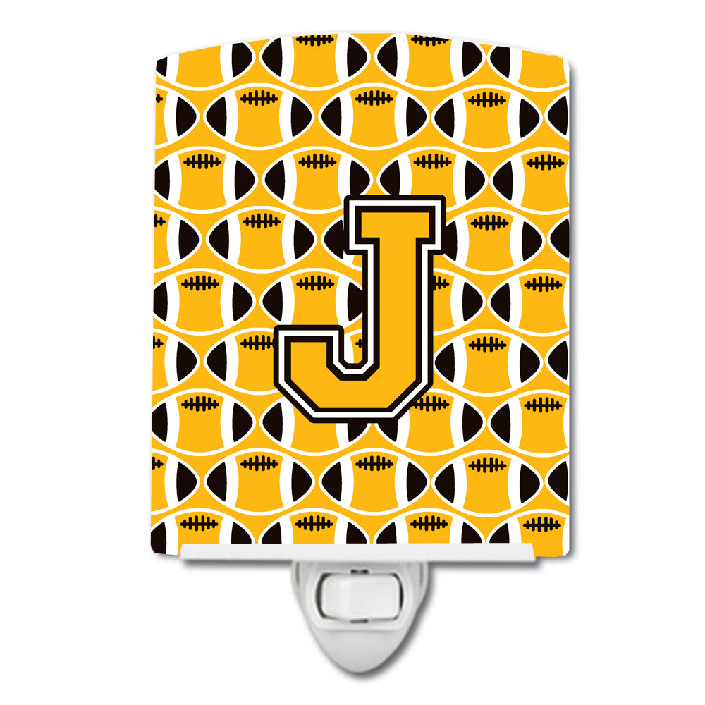 Letter J Football Black, Old Gold and White Ceramic Night Light CJ1080-JCNL by Caroline's Treasures