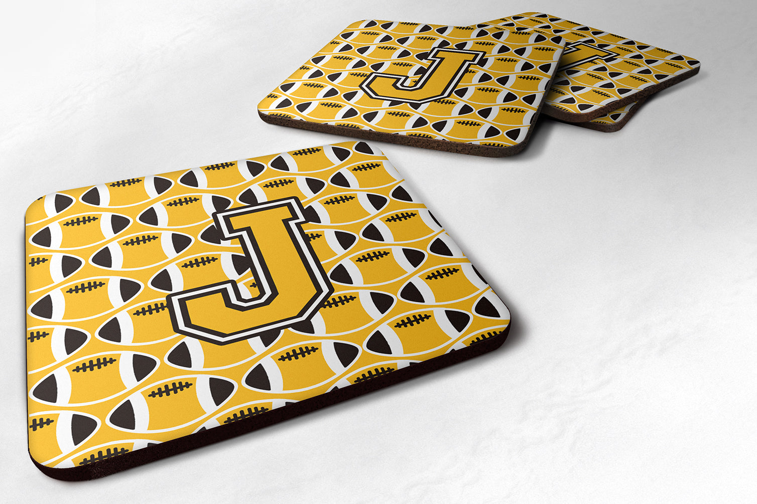 Buy this Set of 4 Letter J Football Black, Old Gold and White Foam Coasters Set of 4 CJ1080-JFC