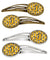 Buy this Letter J Football Black, Old Gold and White Set of 4 Barrettes Hair Clips CJ1080-JHCS4