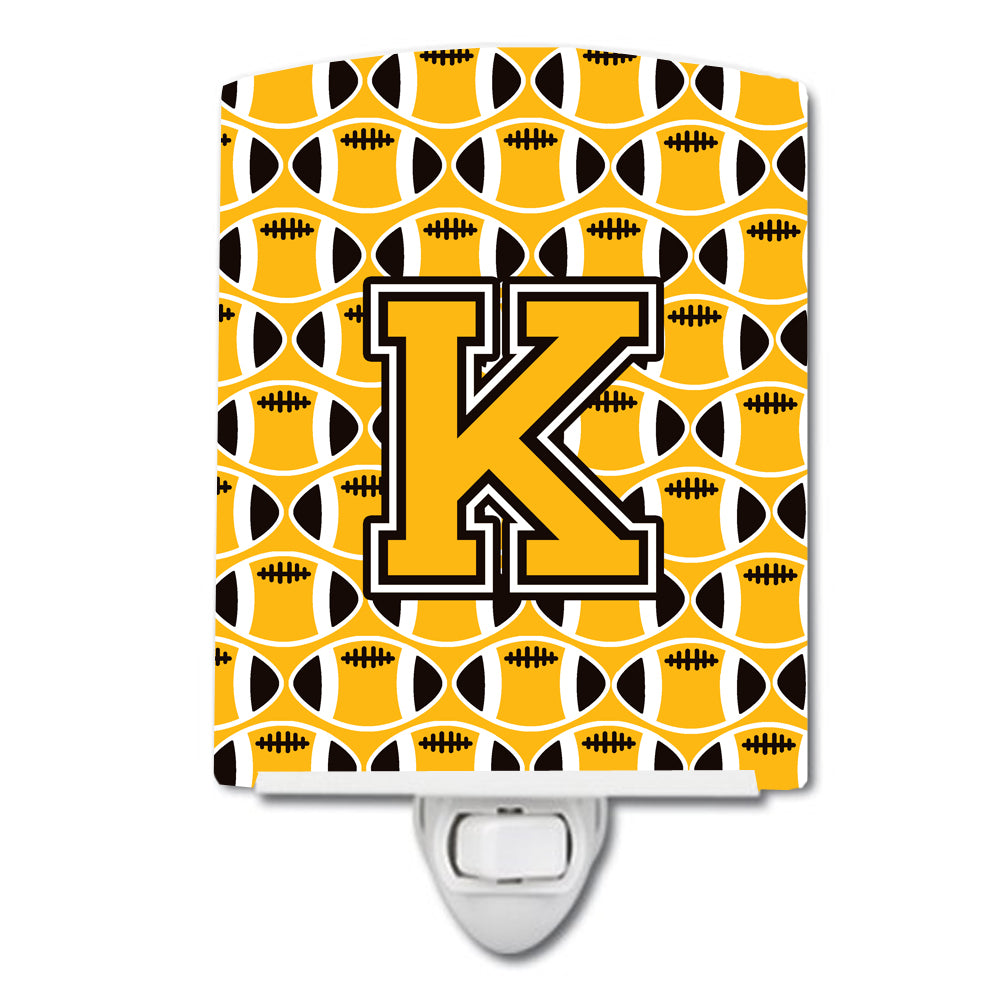 Buy this Letter K Football Black, Old Gold and White Ceramic Night Light CJ1080-KCNL
