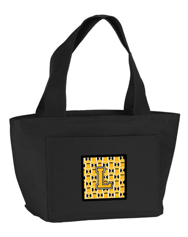 Buy this Letter L Football Black, Old Gold and White Lunch Bag CJ1080-LBK-8808
