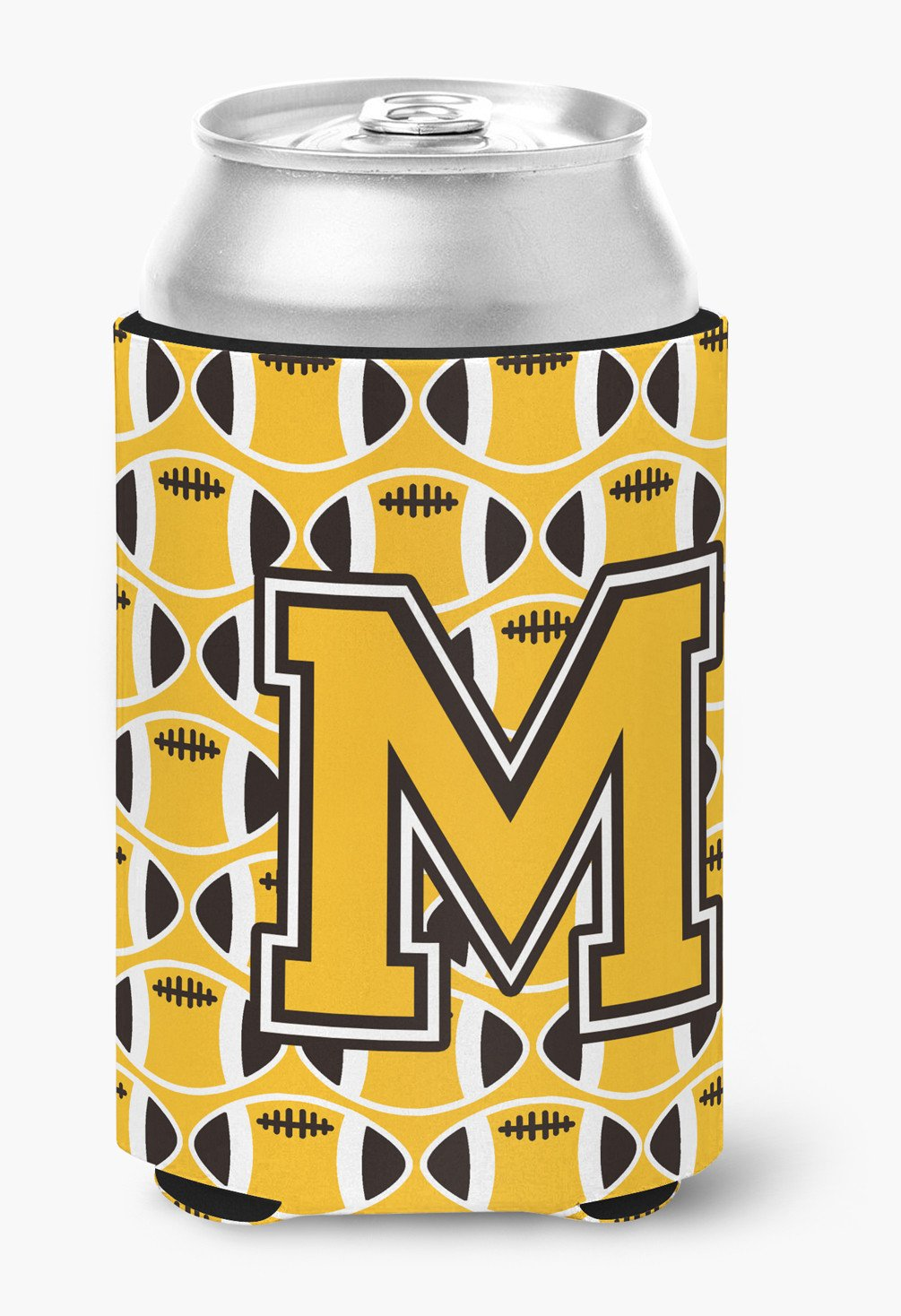 Letter M Football Black, Old Gold and White Can or Bottle Hugger CJ1080-MCC by Caroline's Treasures