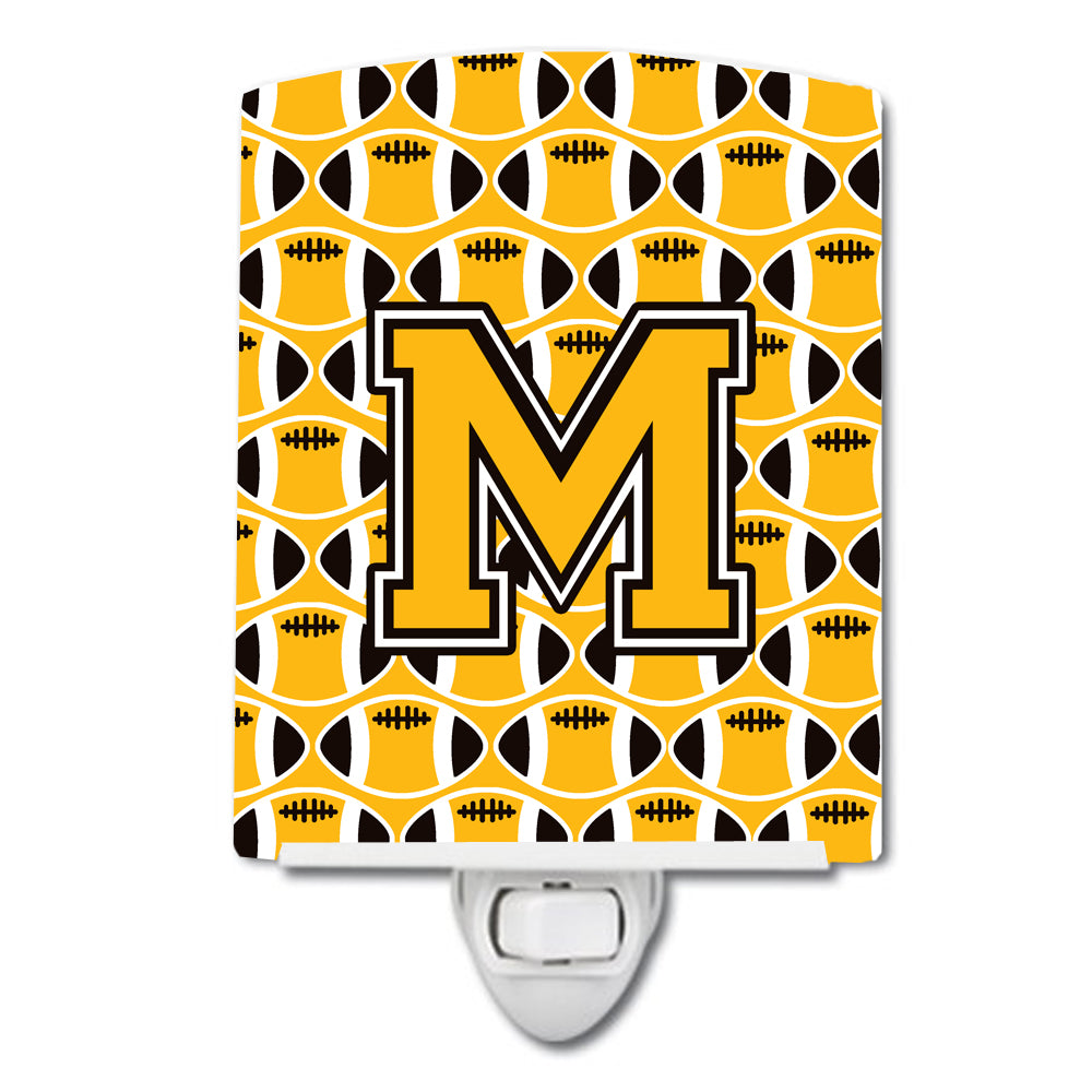 Letter M Football Black, Old Gold and White Ceramic Night Light CJ1080-MCNL by Caroline's Treasures