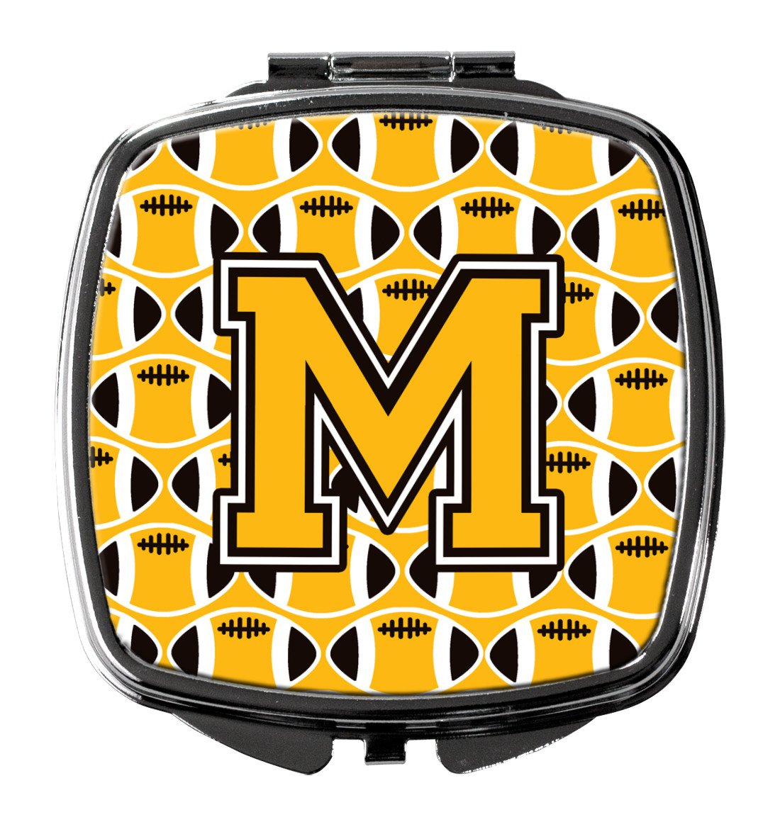 Letter M Football Black, Old Gold and White Compact Mirror CJ1080-MSCM by Caroline's Treasures