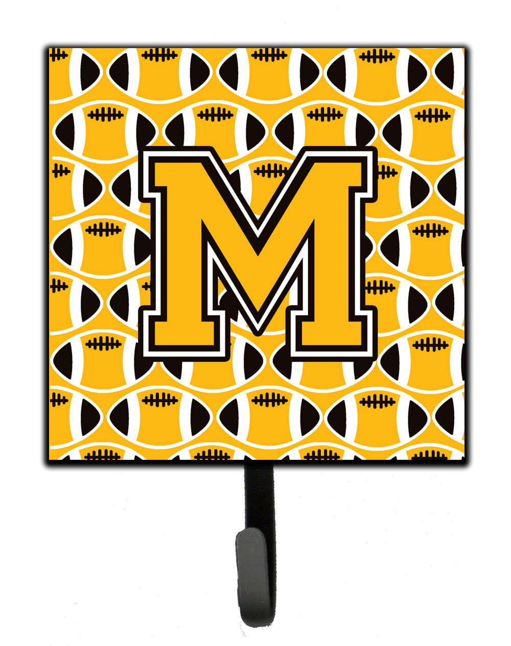 Letter M Football Black, Old Gold and White Leash or Key Holder CJ1080-MSH4 by Caroline's Treasures