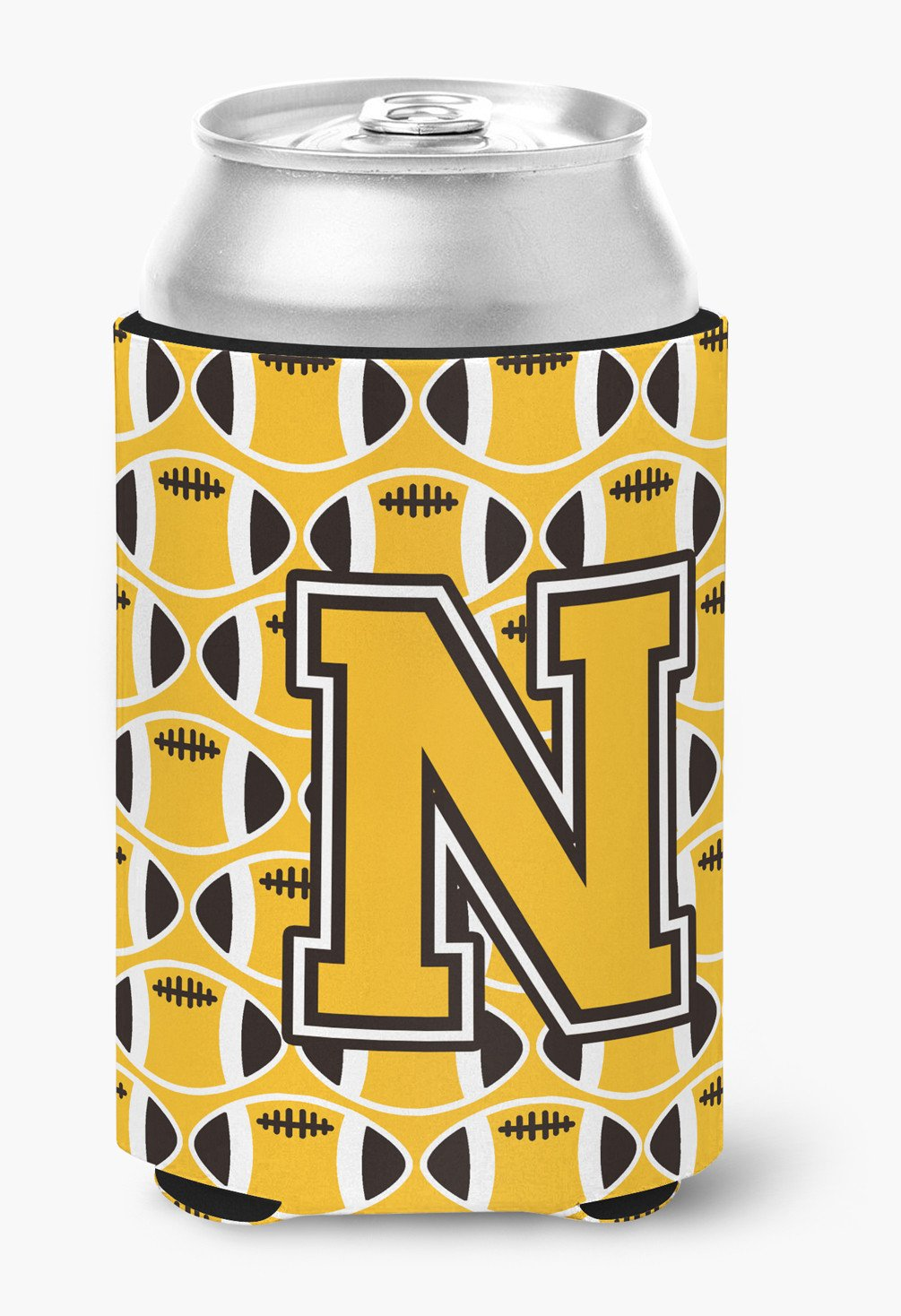 Letter N Football Black, Old Gold and White Can or Bottle Hugger CJ1080-NCC by Caroline's Treasures