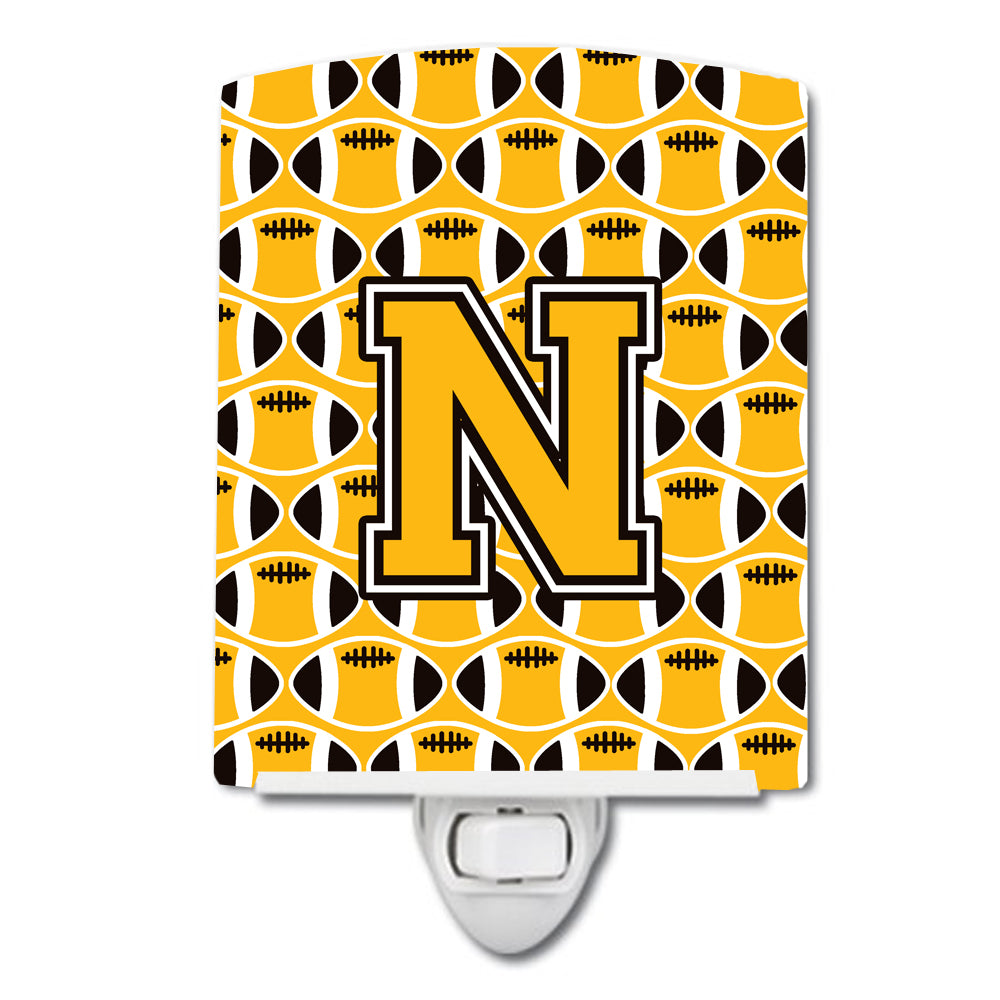 Buy this Letter N Football Black, Old Gold and White Ceramic Night Light CJ1080-NCNL