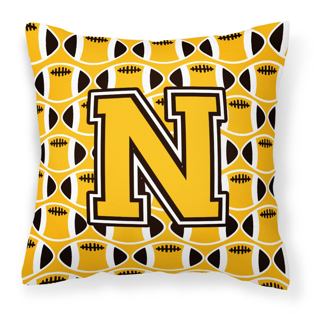 Letter N Football Black, Old Gold and White Fabric Decorative Pillow CJ1080-NPW1414 by Caroline's Treasures