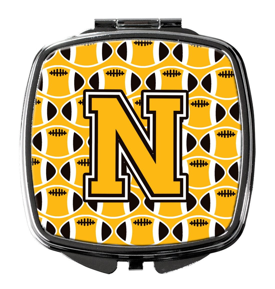 Letter N Football Black, Old Gold and White Compact Mirror CJ1080-NSCM by Caroline's Treasures