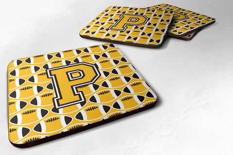 Buy this Letter P Football Black, Old Gold and White Foam Coaster Set of 4 CJ1080-PFC