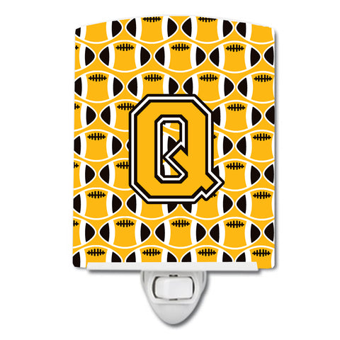 Buy this Letter Q Football Black, Old Gold and White Ceramic Night Light CJ1080-QCNL