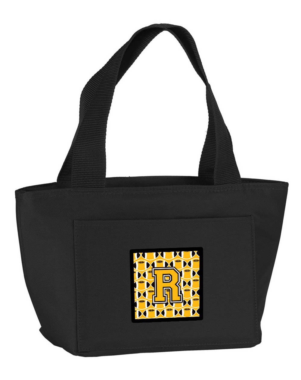 Letter R Football Black, Old Gold and White Lunch Bag CJ1080-RBK-8808 by Caroline's Treasures