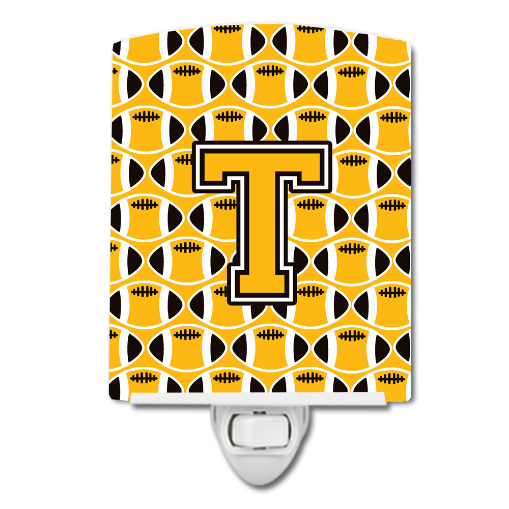 Buy this Letter T Football Black, Old Gold and White Ceramic Night Light CJ1080-TCNL