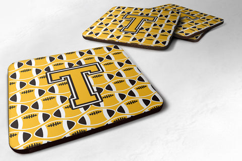 Buy this Letter T Football Black, Old Gold and White Foam Coaster Set of 4 CJ1080-TFC
