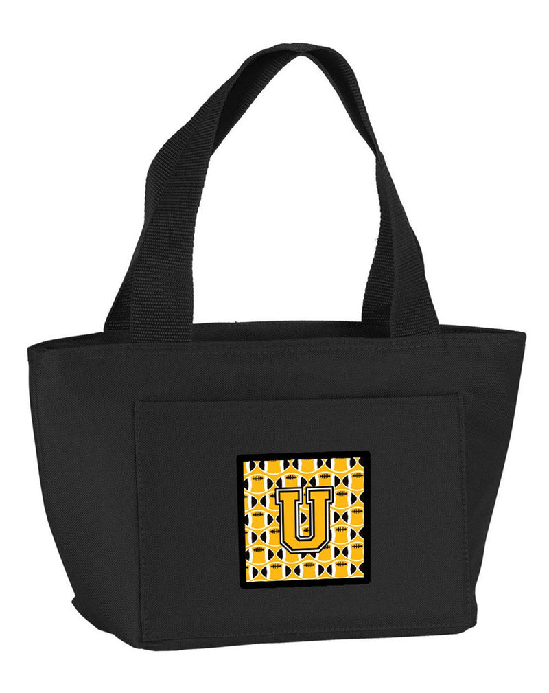 Buy this Letter U Football Black, Old Gold and White Lunch Bag CJ1080-UBK-8808