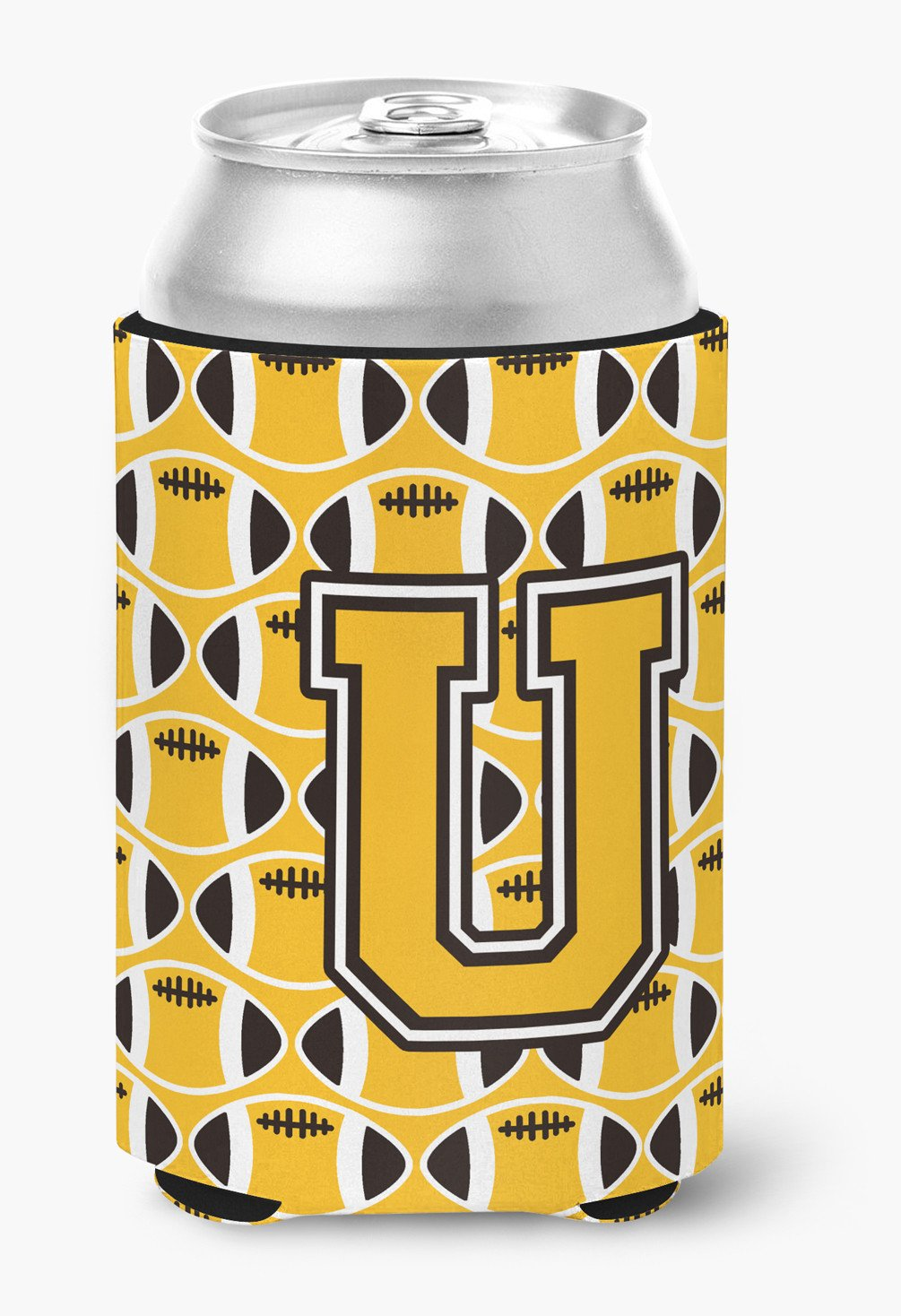 Buy this Letter U Football Black, Old Gold and White Can or Bottle Hugger CJ1080-UCC