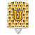 Buy this Letter U Football Black, Old Gold and White Ceramic Night Light CJ1080-UCNL