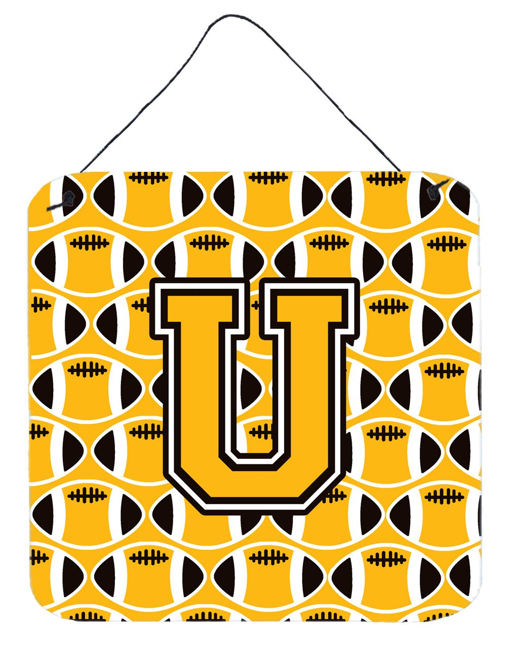 Letter U Football Black, Old Gold and White Wall or Door Hanging Prints CJ1080-UDS66 by Caroline's Treasures