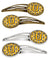 Buy this Letter U Football Black, Old Gold and White Set of 4 Barrettes Hair Clips CJ1080-UHCS4