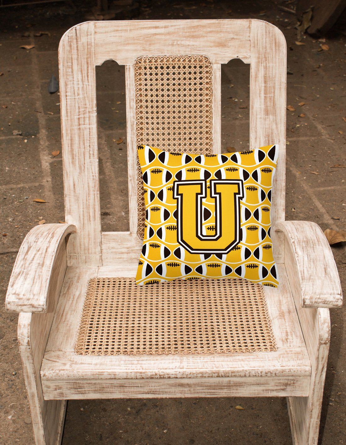 Letter U Football Black, Old Gold and White Fabric Decorative Pillow CJ1080-UPW1414 by Caroline's Treasures