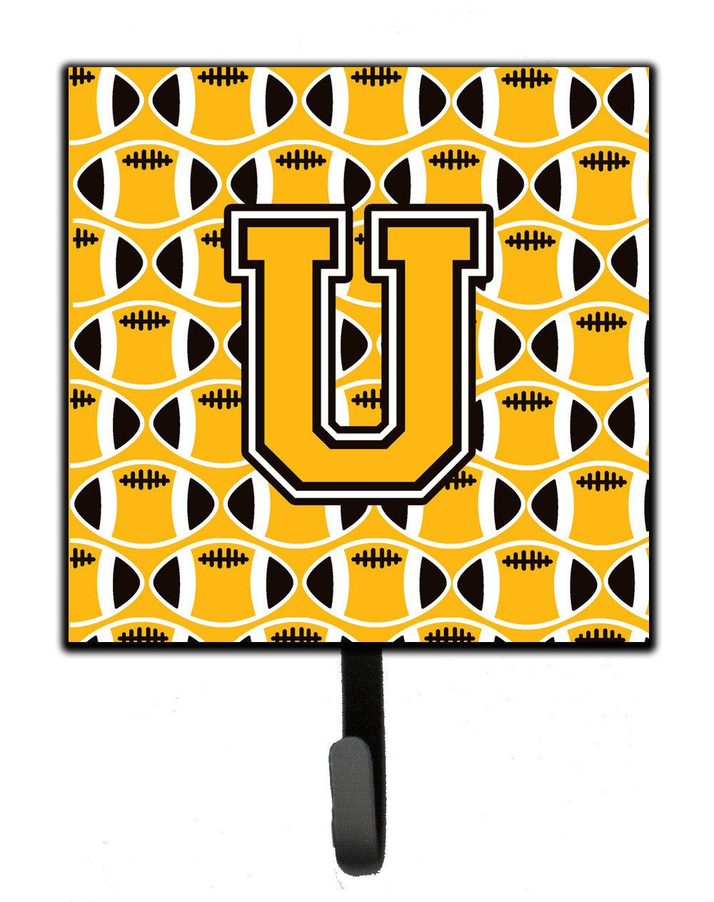 Buy this Letter U Football Black, Old Gold and White Leash or Key Holder CJ1080-USH4