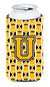Buy this Letter U Football Black, Old Gold and White Tall Boy Beverage Insulator Hugger CJ1080-UTBC