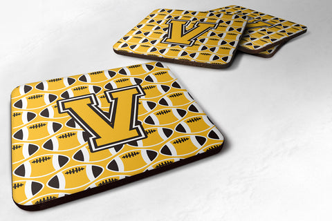 Buy this Letter V Football Black, Old Gold and White Foam Coaster Set of 4 CJ1080-VFC