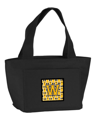 Buy this Letter W Football Black, Old Gold and White Lunch Bag CJ1080-WBK-8808
