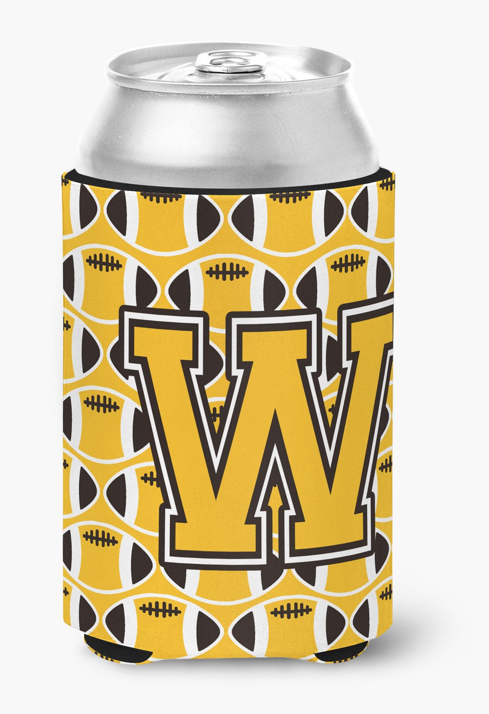 Buy this Letter W Football Black, Old Gold and White Can or Bottle Hugger CJ1080-WCC