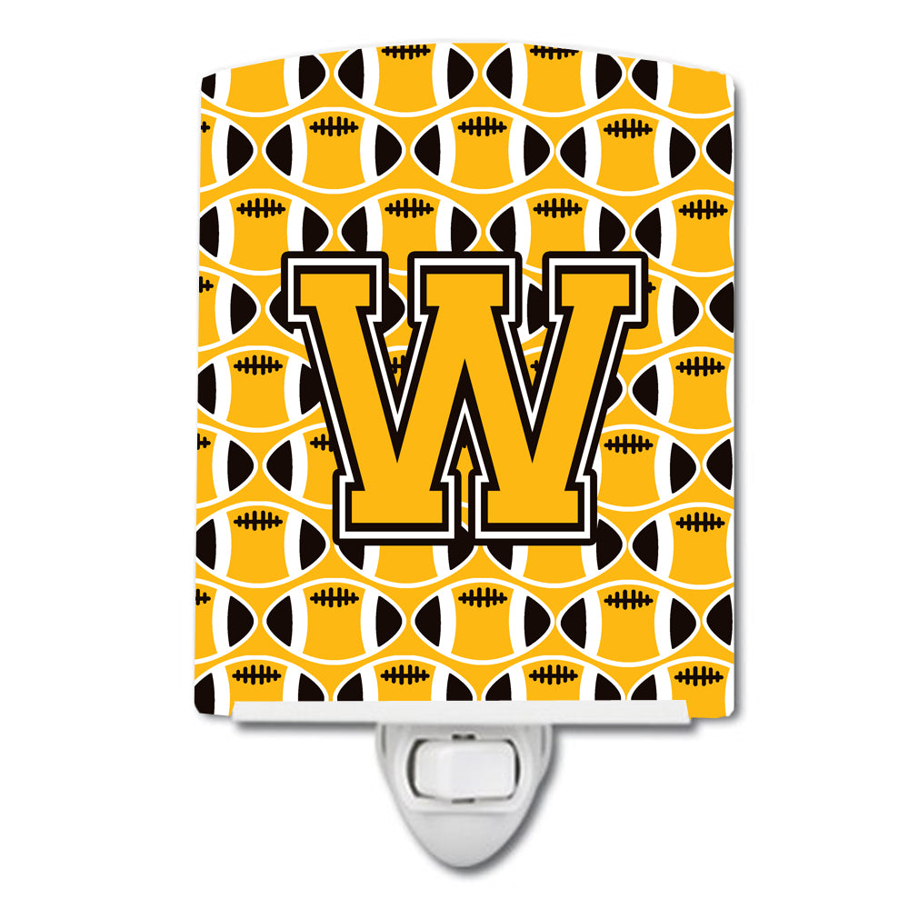 Buy this Letter W Football Black, Old Gold and White Ceramic Night Light CJ1080-WCNL