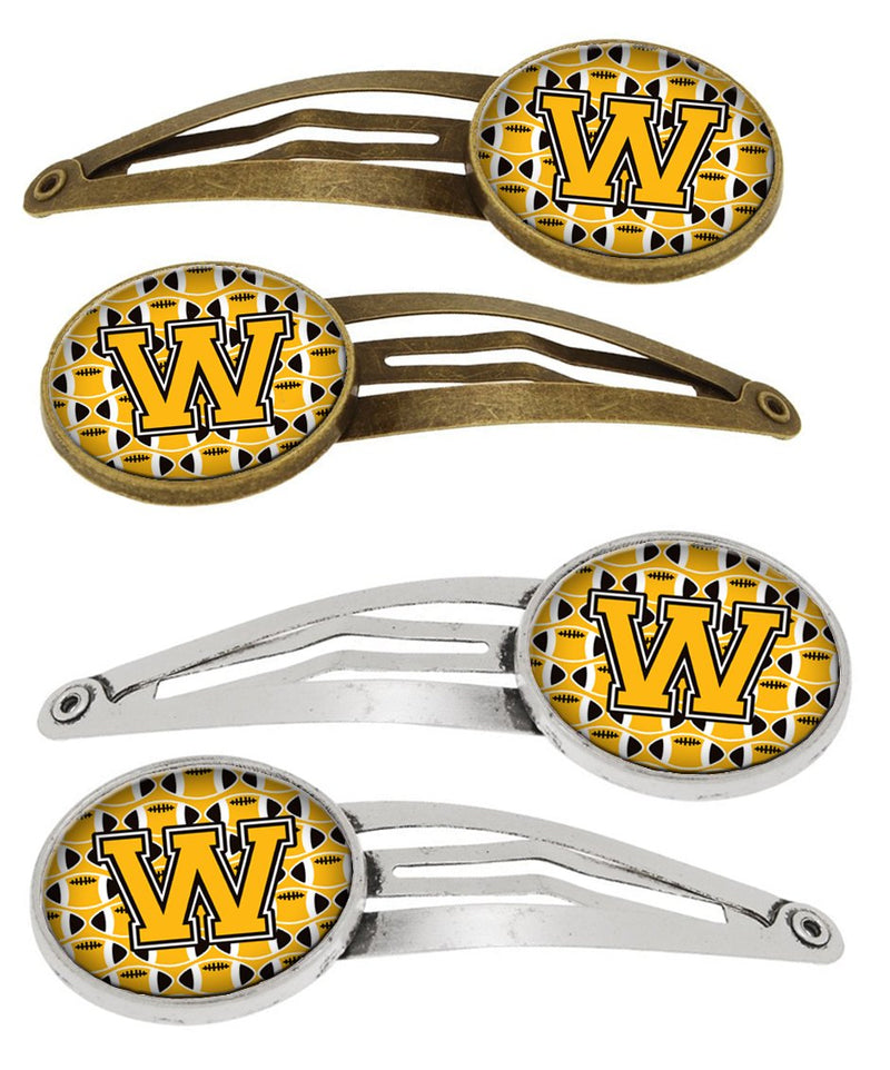 Buy this Letter W Football Black, Old Gold and White Set of 4 Barrettes Hair Clips CJ1080-WHCS4