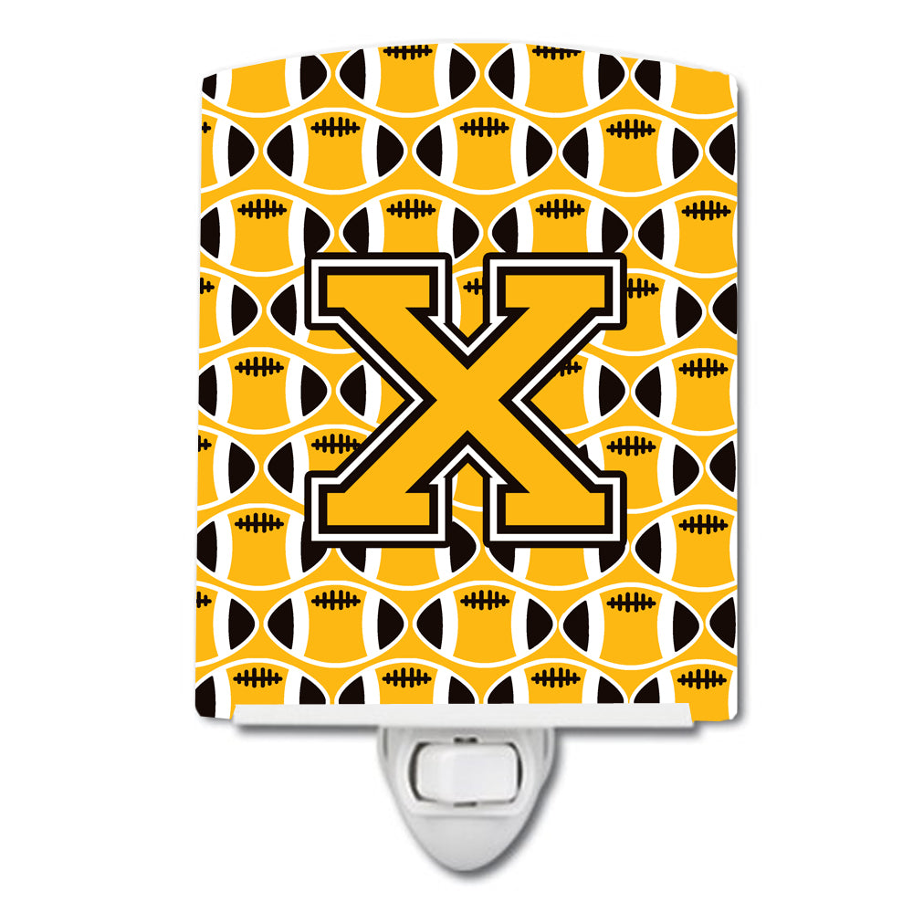 Buy this Letter X Football Black, Old Gold and White Ceramic Night Light CJ1080-XCNL