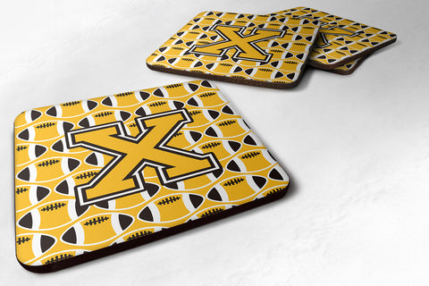 Buy this Letter X Football Black, Old Gold and White Foam Coaster Set of 4 CJ1080-XFC