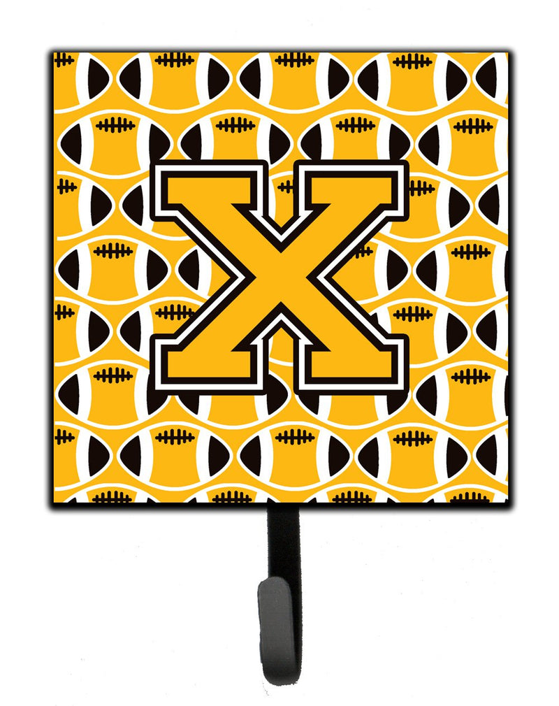 "Buy this ""Letter X Football Black, Old Gold and White Leash or Key Holder"""