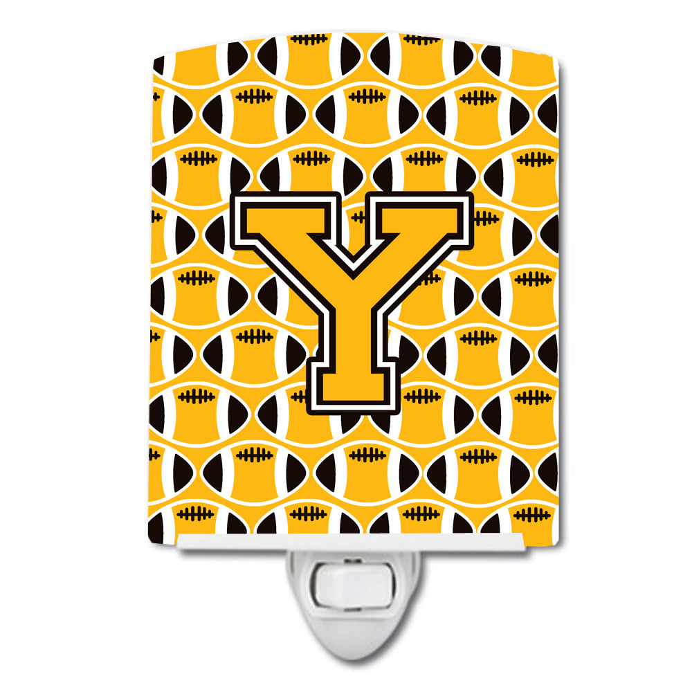 Buy this Letter Y Football Black, Old Gold and White Ceramic Night Light CJ1080-YCNL