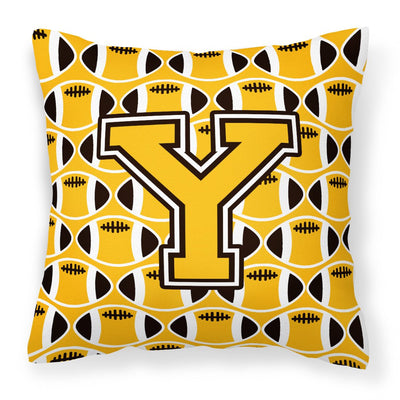 Buy this Letter Y Football Black, Old Gold and White Fabric Decorative Pillow CJ1080-YPW1414