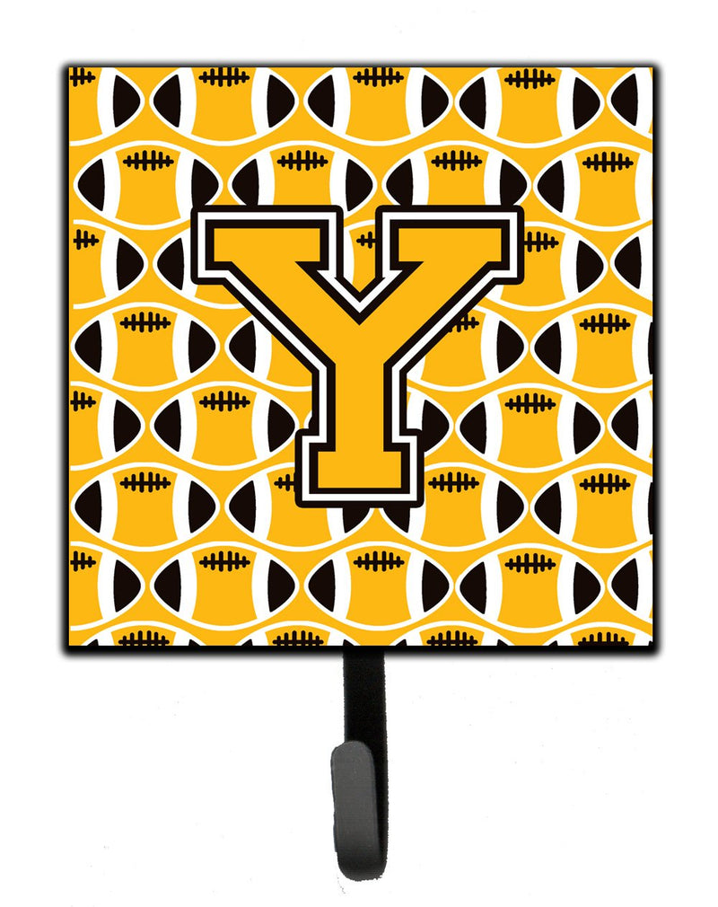 "Buy this ""Letter Y Football Black, Old Gold and White Leash or Key Holder"""
