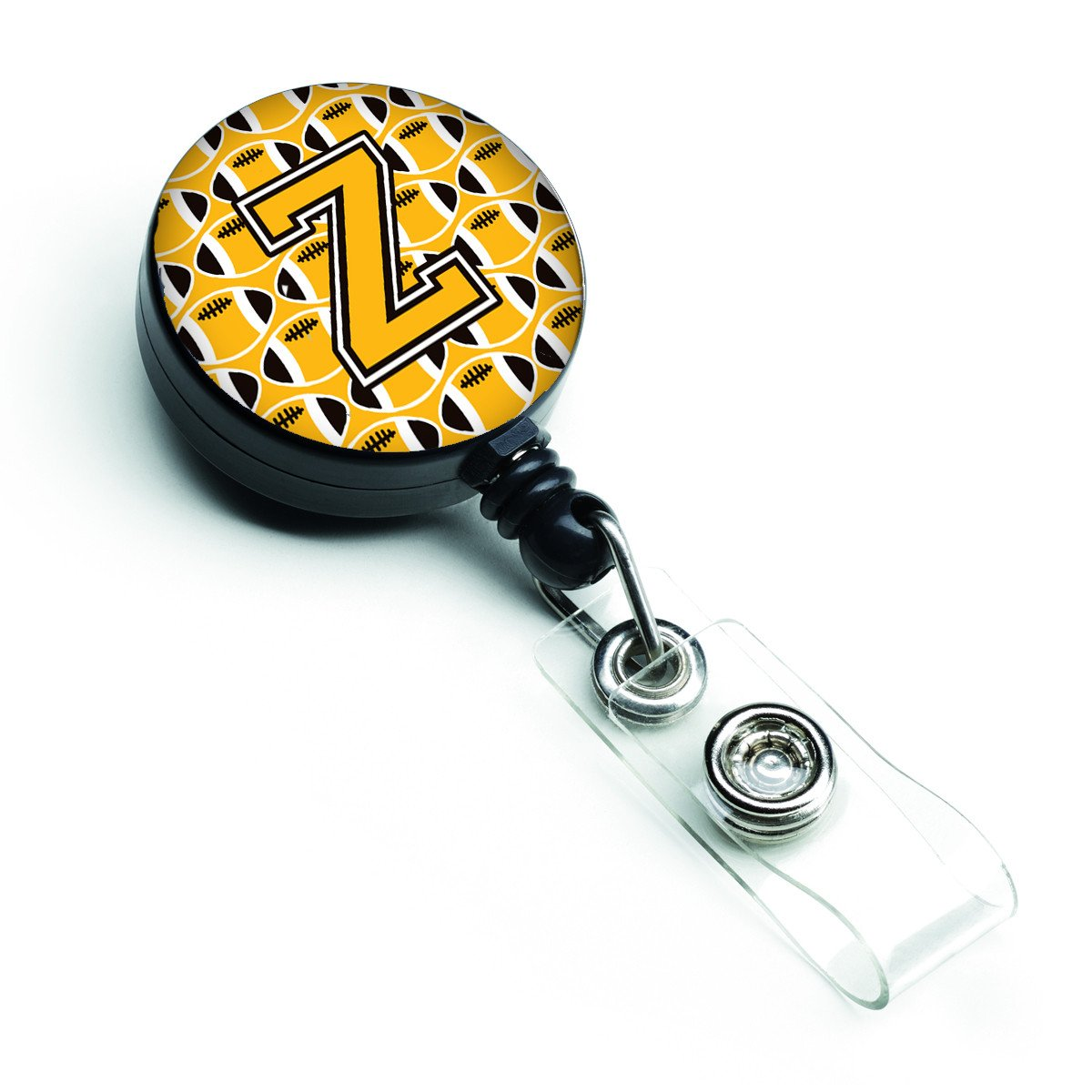 Letter Z Football Black, Old Gold and White Retractable Badge Reel CJ1080-ZBR by Caroline's Treasures