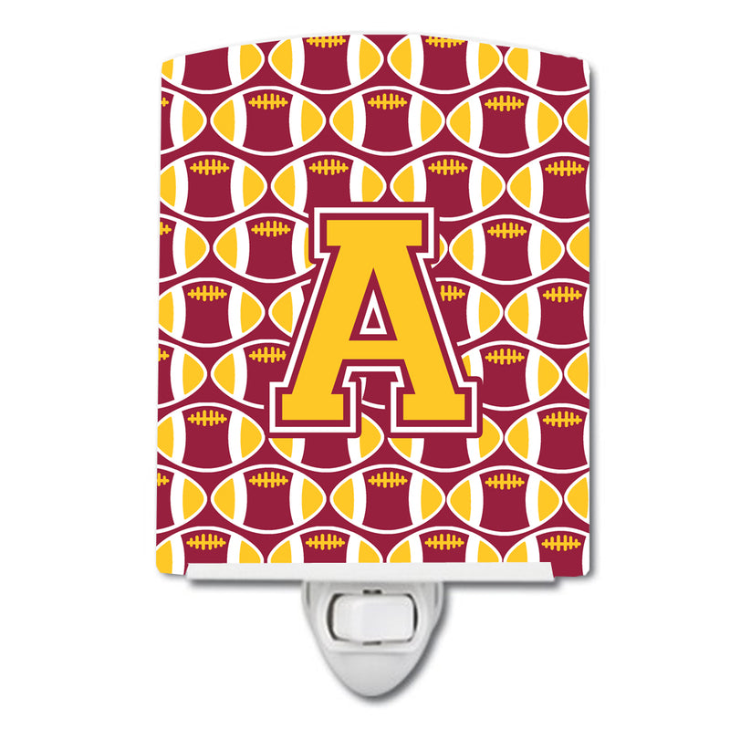 Buy this Letter A Football Maroon and Gold Ceramic Night Light CJ1081-ACNL