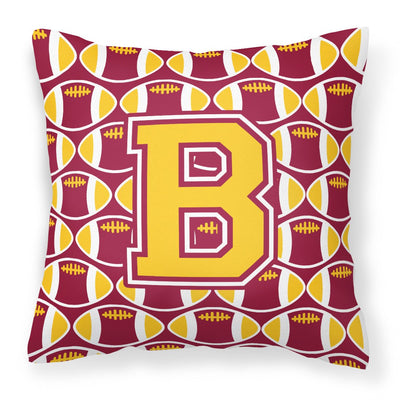 Buy this Letter B Football Maroon and Gold Fabric Decorative Pillow CJ1081-BPW1414