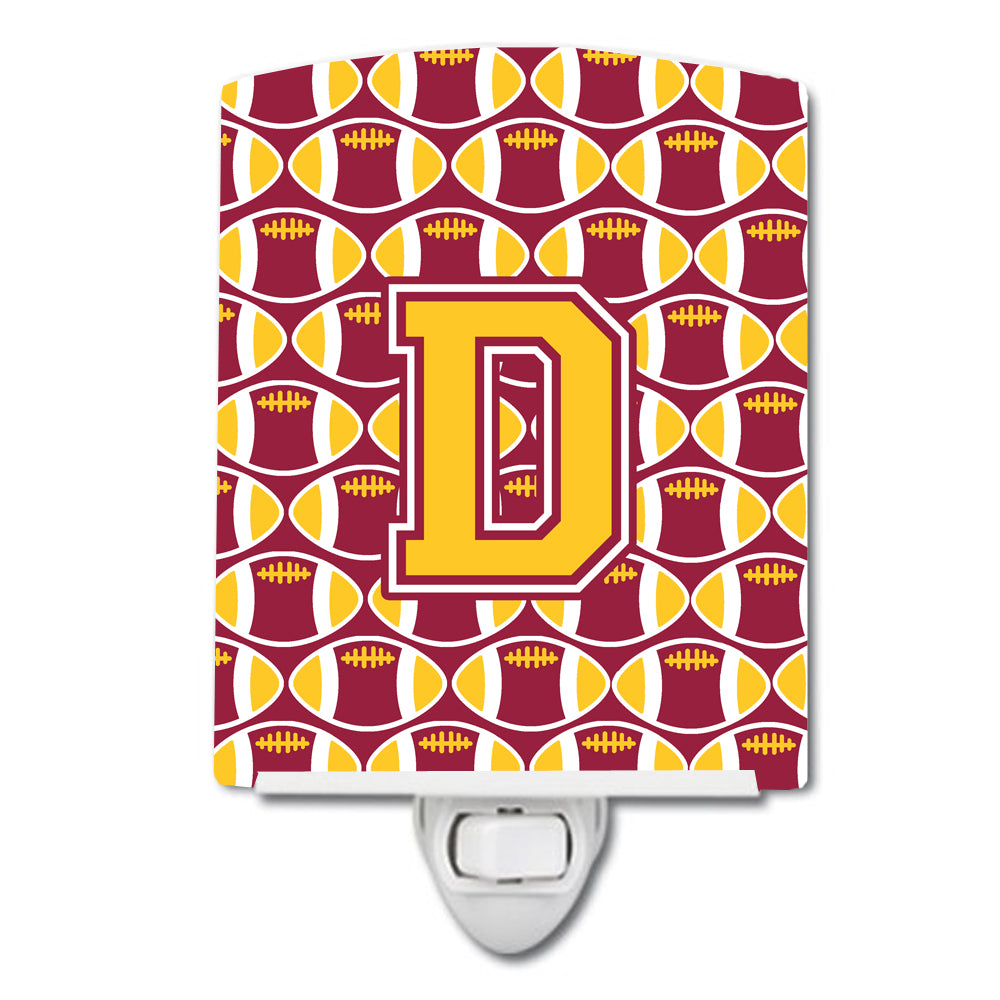 Letter D Football Maroon and Gold Ceramic Night Light CJ1081-DCNL by Caroline's Treasures