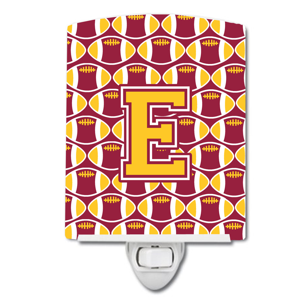 Buy this Letter E Football Maroon and Gold Ceramic Night Light CJ1081-ECNL