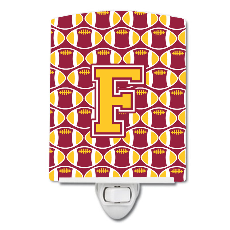 Buy this Letter F Football Maroon and Gold Ceramic Night Light CJ1081-FCNL