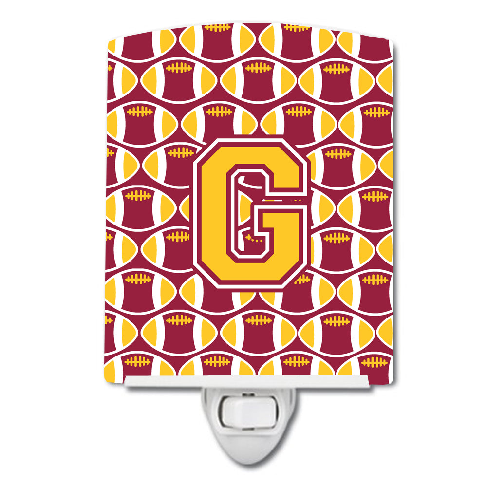 Buy this Letter G Football Maroon and Gold Ceramic Night Light CJ1081-GCNL