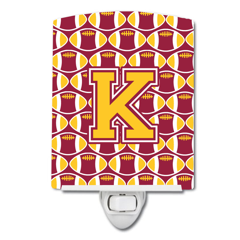 Buy this Letter K Football Maroon and Gold Ceramic Night Light CJ1081-KCNL