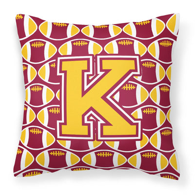 Buy this Letter K Football Maroon and Gold Fabric Decorative Pillow CJ1081-KPW1414