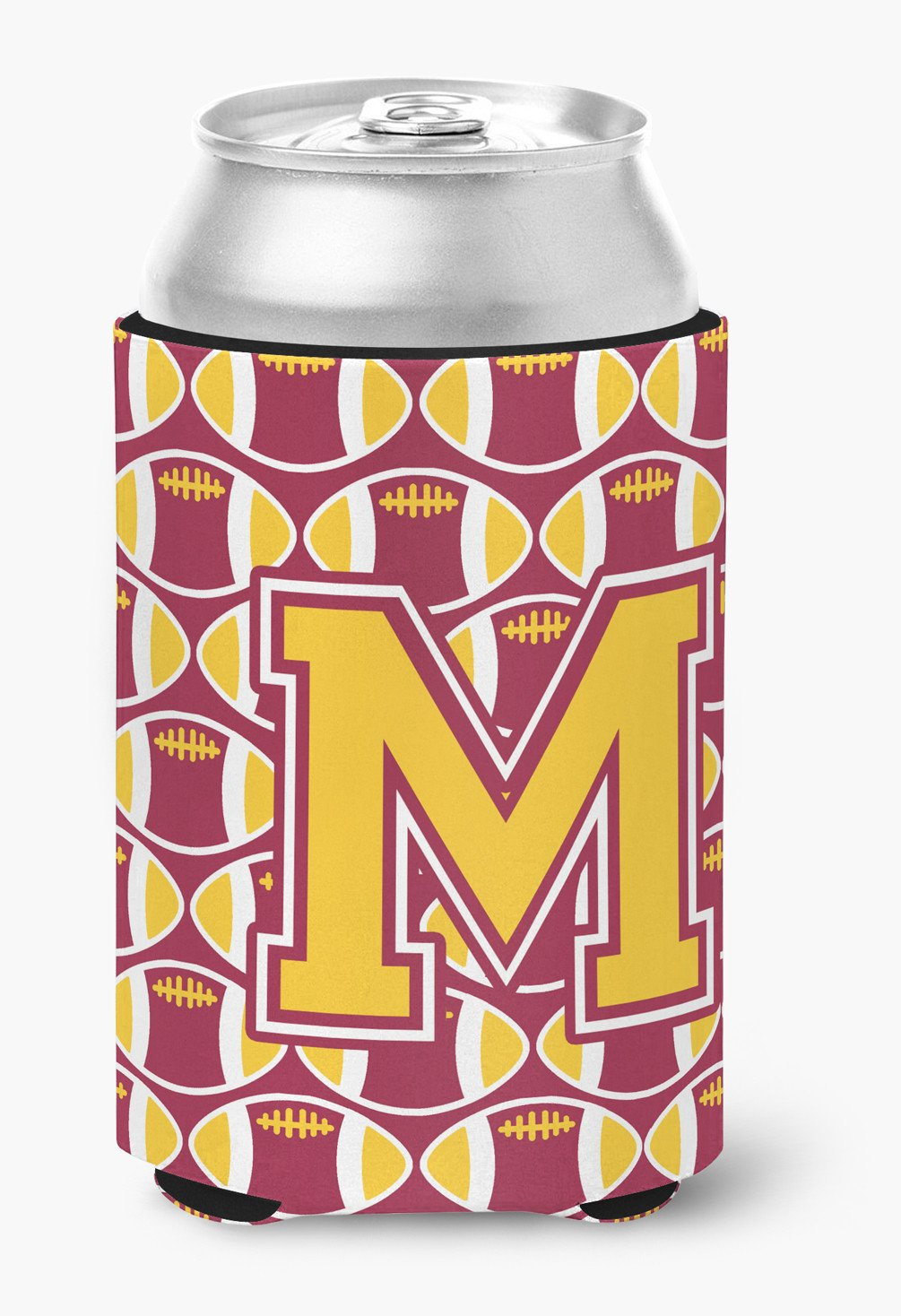 Letter M Football Maroon and Gold Can or Bottle Hugger CJ1081-MCC by Caroline's Treasures