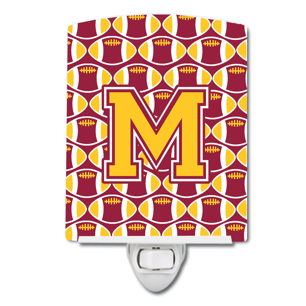 Letter M Football Maroon and Gold Ceramic Night Light CJ1081-MCNL by Caroline's Treasures
