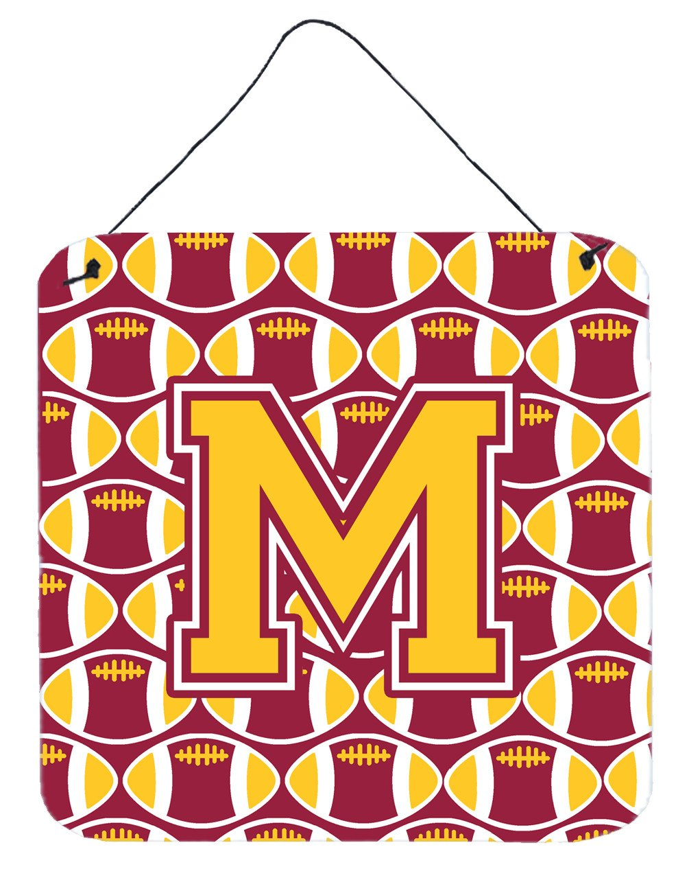 Letter M Football Maroon and Gold Wall or Door Hanging Prints CJ1081-MDS66 by Caroline's Treasures