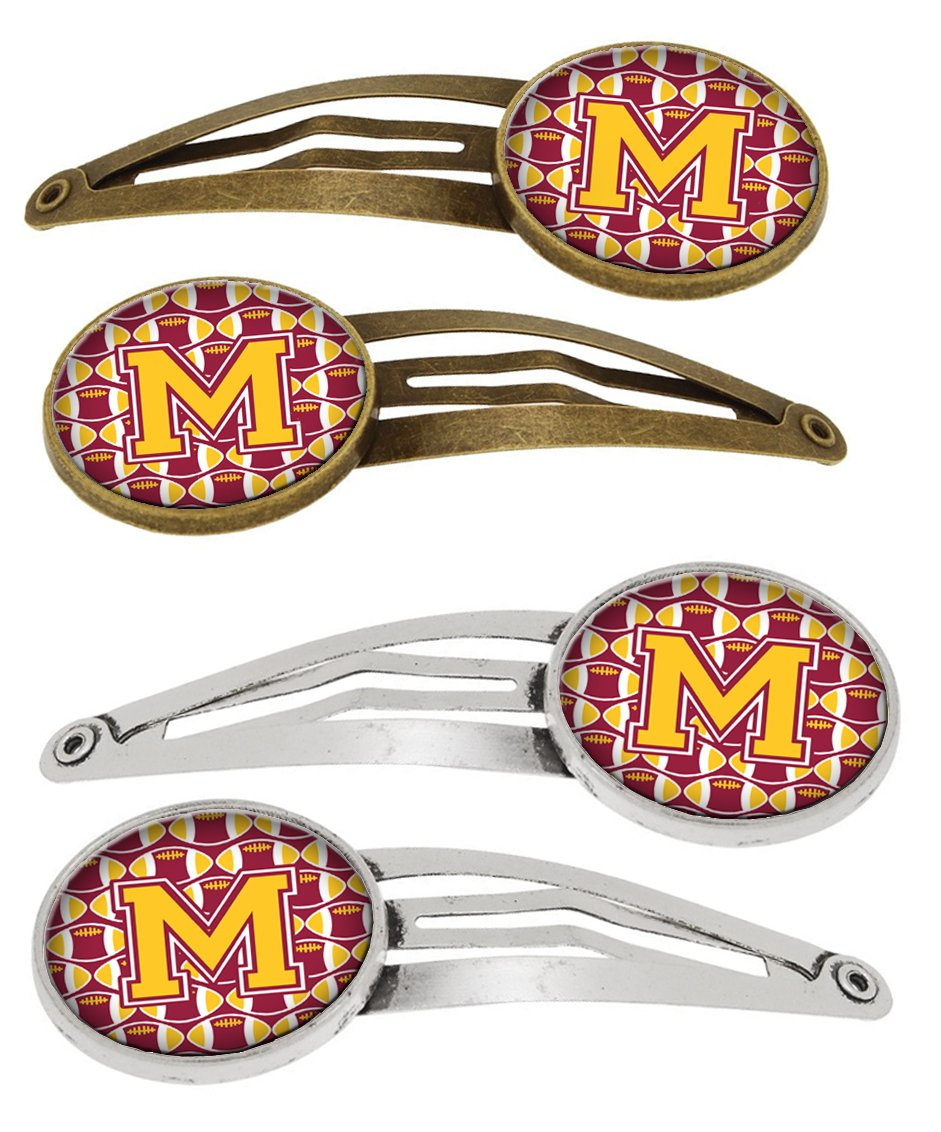 Buy this Letter M Football Maroon and Gold Set of 4 Barrettes Hair Clips CJ1081-MHCS4